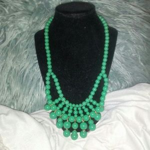 Mint green statement beaded necklace t&j designs